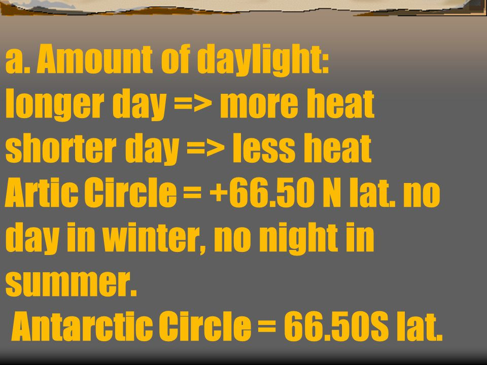 a. Amount of daylight: longer day => more heat shorter day => less heat Artic Circle = +66.50 N lat. no day in winter, no night in summer. Antarctic C