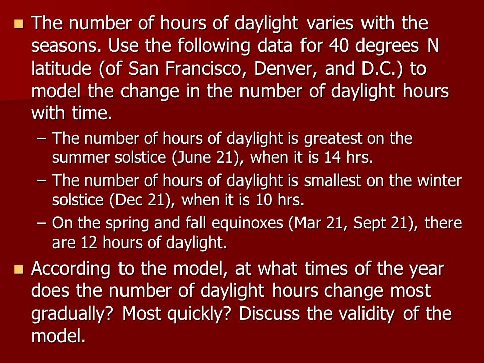 The number of hours of daylight varies with the seasons.