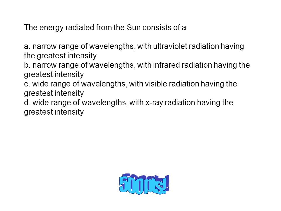 The energy radiated from the Sun consists of a a.