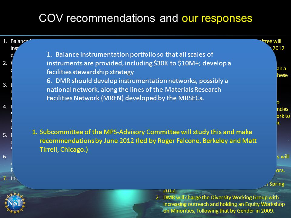 COV recommendations and our responses 1.Balance instrumentation portfolio so that all scales of instruments are provided, including $30K to $10M+; dev