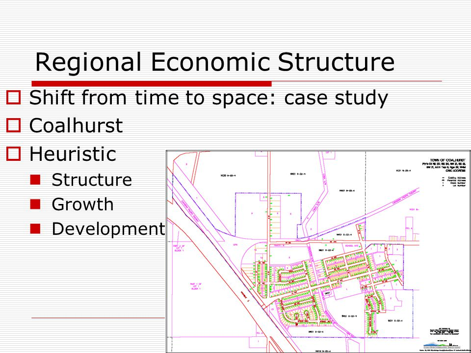 Regional Economic Structure  Shift from time to space: case study  Coalhurst  Heuristic Structure Growth Development