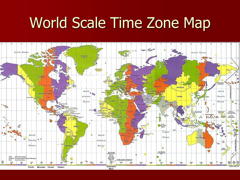 Canadian Time Zones in theory TIME ZONESPACIFICMOUNTAINCENTRALEASTERNATLANTICNFLD Time Meridian 120°W105° W90° W75° W60° W52.5°W Time difference 1:002:003:004:005:005:30 UTC- 8- 7- 6- 5- 4- 3 ½ Empirical reality is a little different…