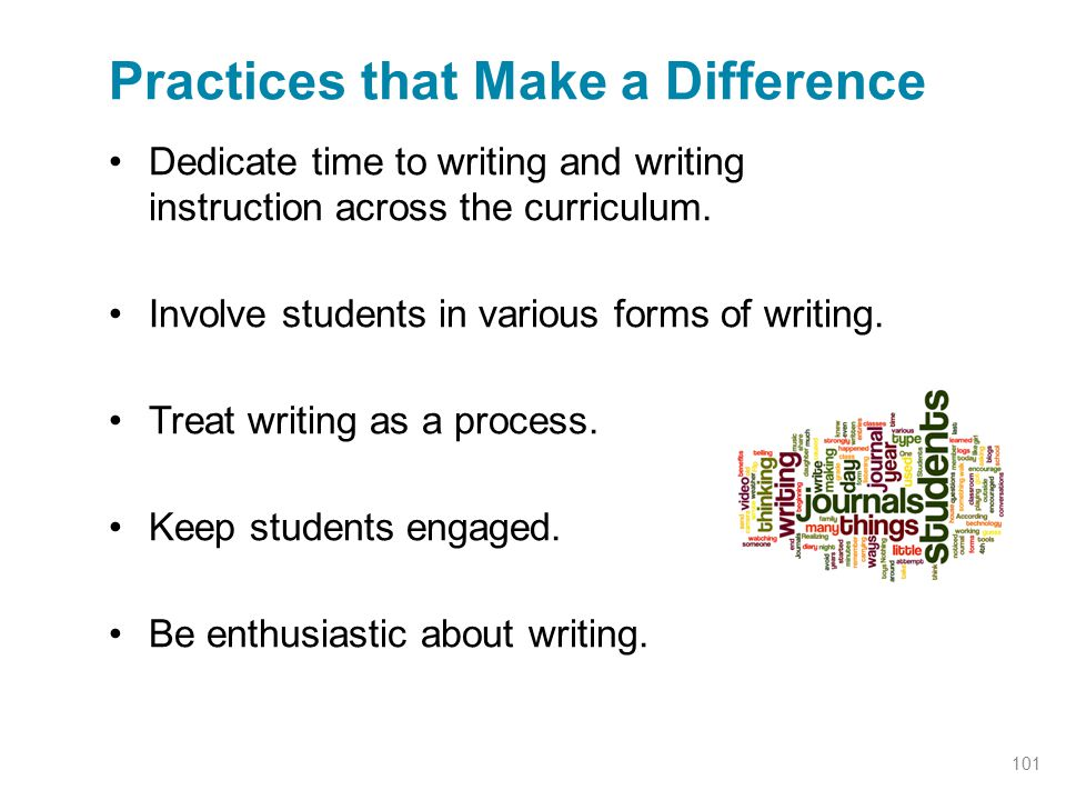Dedicate time to writing and writing instruction across the curriculum. Involve students in various forms of writing. Treat writing as a process. Keep