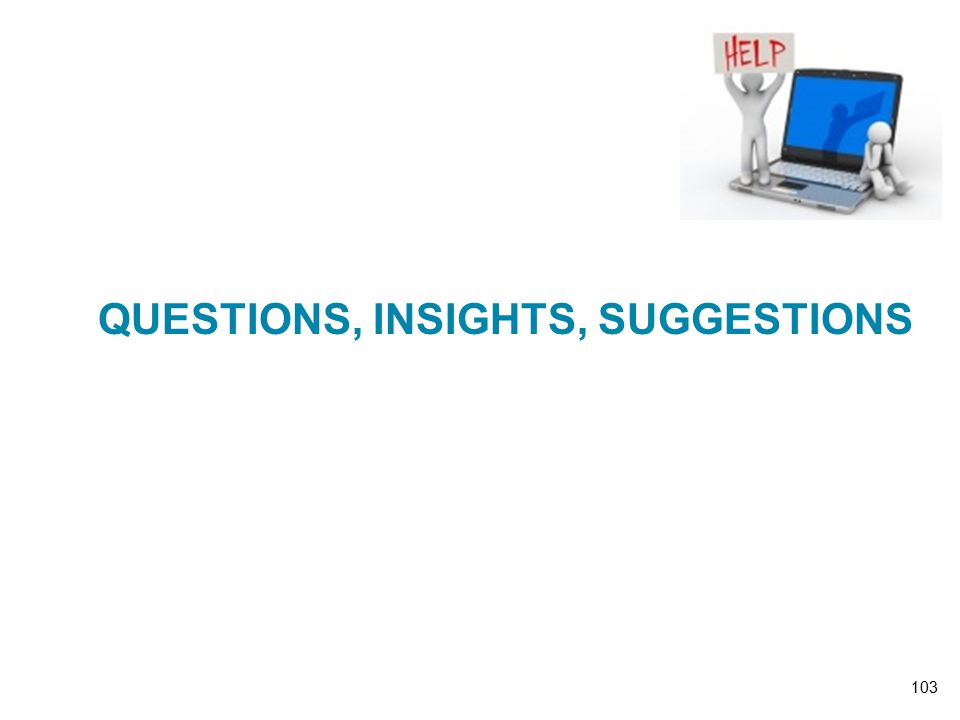 QUESTIONS, INSIGHTS, SUGGESTIONS 103