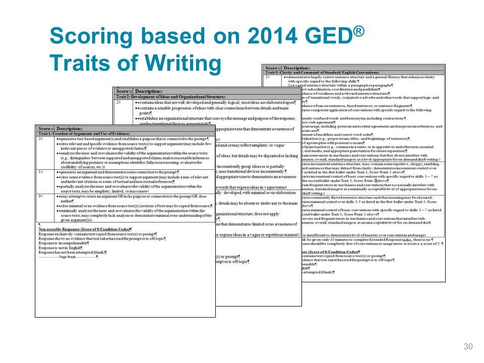 Scoring based on 2014 GED ® Traits of Writing 30