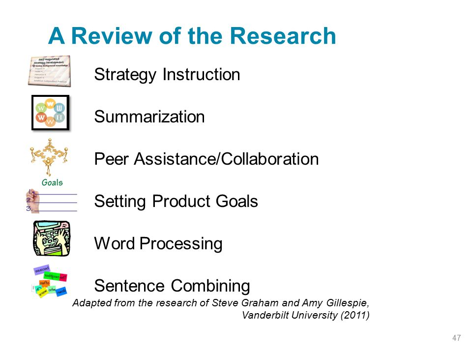 Strategy Instruction Summarization Peer Assistance/Collaboration Setting Product Goals Word Processing Sentence Combining A Review of the Research Ada