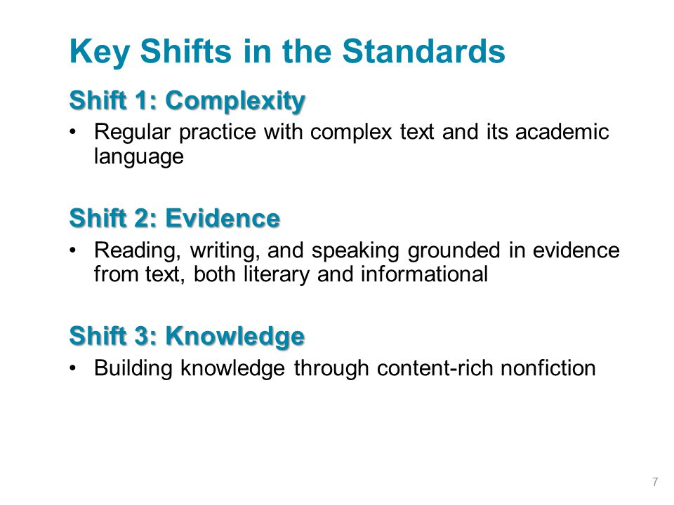 Shift 1: Complexity Regular practice with complex text and its academic language Shift 2: Evidence Reading, writing, and speaking grounded in evidence