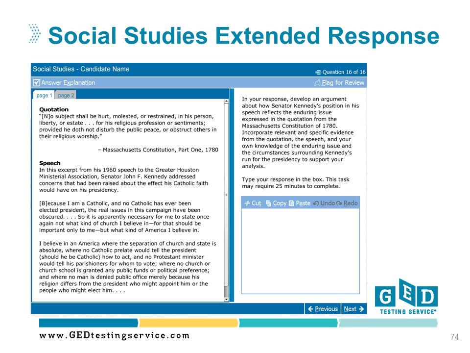 Social Studies Extended Response 74