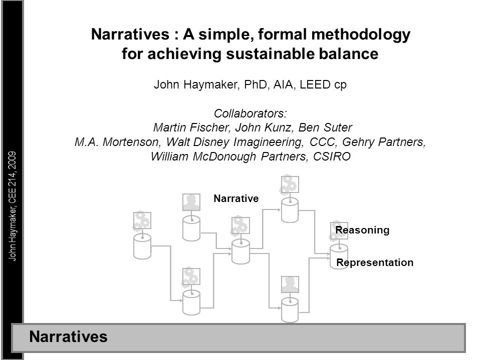 John Haymaker, CEE 214, 2009 Narratives : A simple, formal methodology for achieving sustainable balance John Haymaker, PhD, AIA, LEED cp Collaborators: Martin Fischer, John Kunz, Ben Suter M.A.
