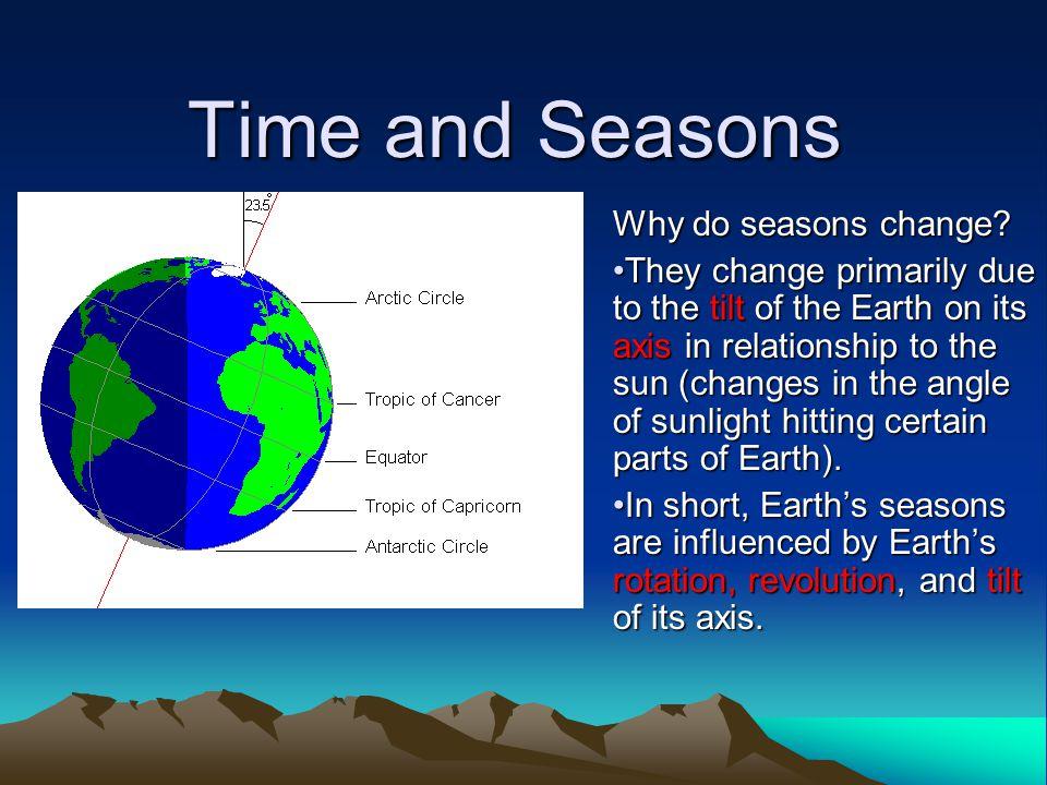 Time and Seasons Why do seasons change.