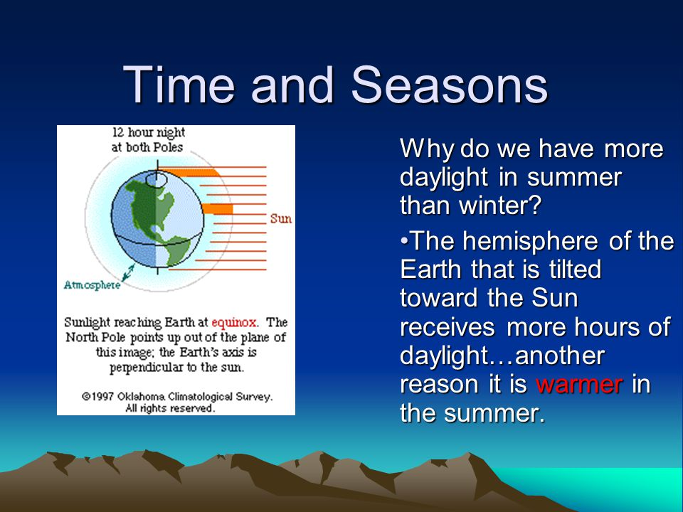 Time and Seasons Why do we have more daylight in summer than winter.