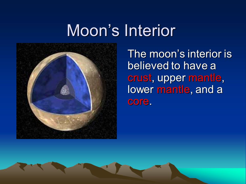 Moon's Interior The moon's interior is believed to have a crust, upper mantle, lower mantle, and a core.
