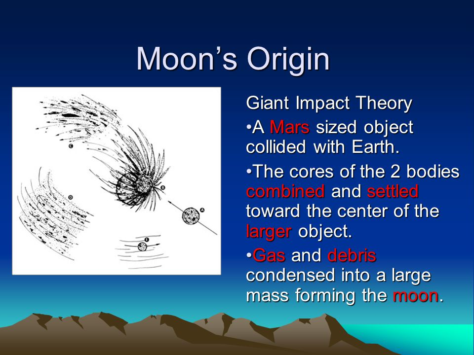 Moon's Origin Giant Impact Theory A Mars sized object collided with Earth.A Mars sized object collided with Earth.