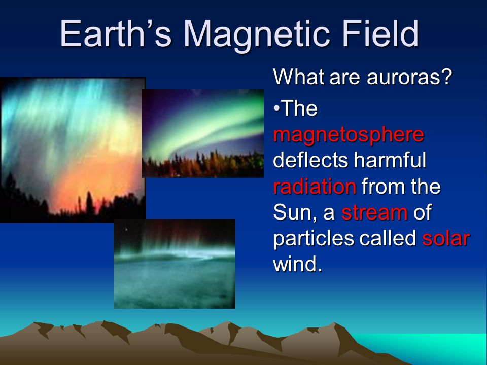 Earth's Magnetic Field What are auroras? The magnetosphere deflects harmful radiation from the Sun, a stream of particles called solar wind.The magnet