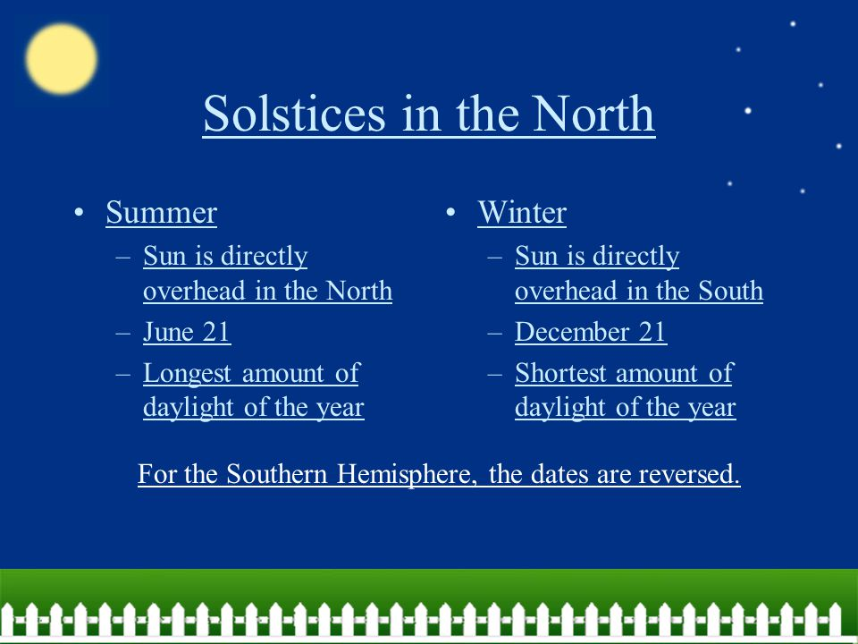 Earth in December The South is: –Tilted toward sun –Summer The North is: –Tilted away from sun –Winter