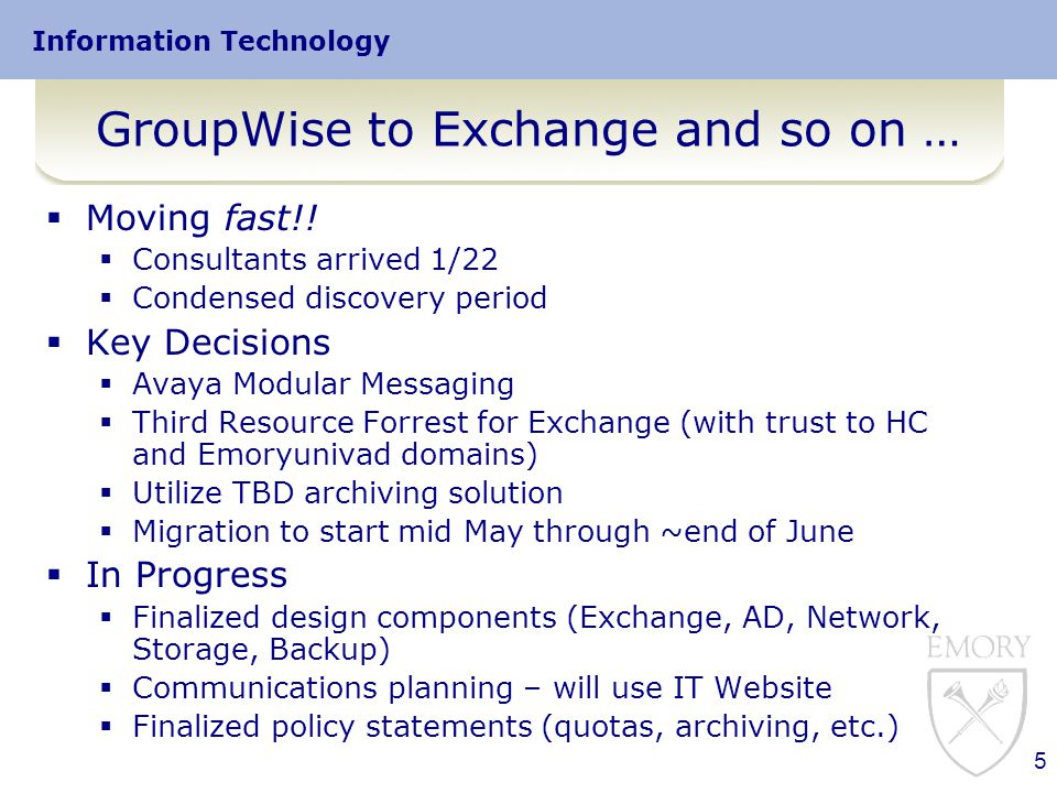 Information Technology 5 GroupWise to Exchange and so on …  Moving fast!.