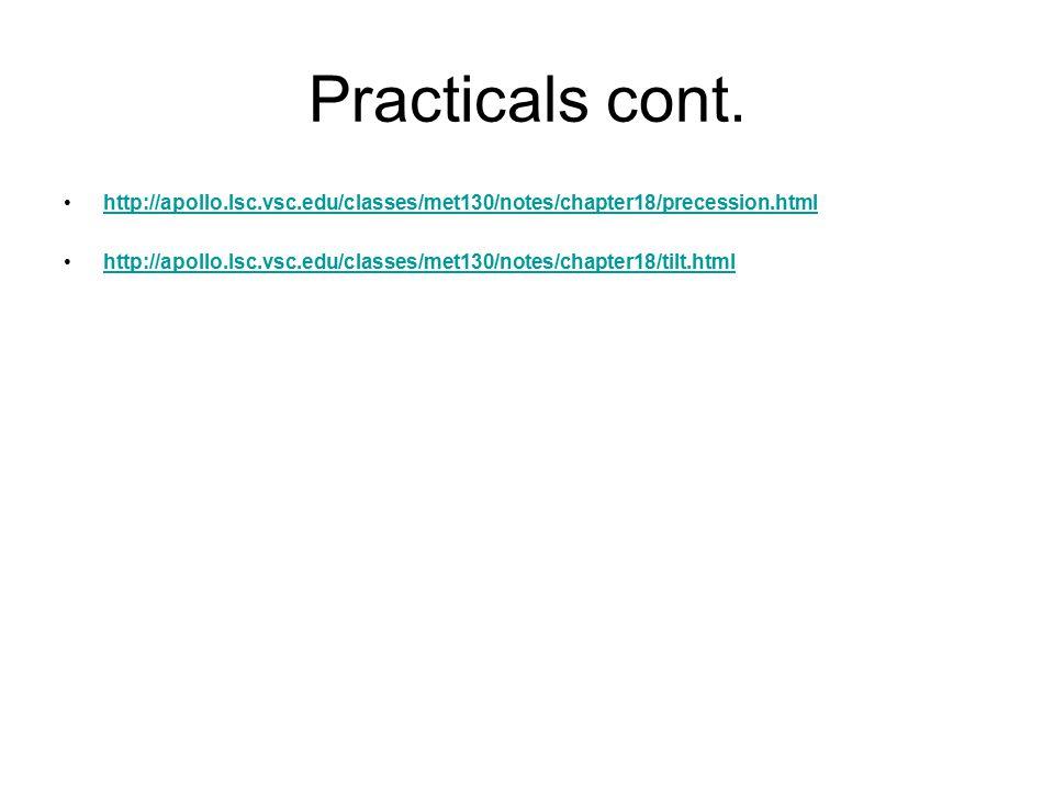 Practicals cont. http://apollo.lsc.vsc.edu/classes/met130/notes/chapter18/precession.html http://apollo.lsc.vsc.edu/classes/met130/notes/chapter18/til