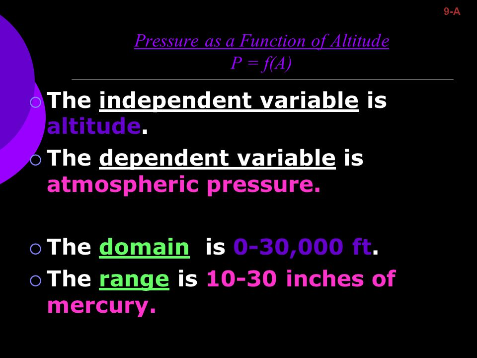 Pressure as a Function of Altitude P = f(A)  The independent variable is altitude.  The dependent variable is atmospheric pressure.  The domain is