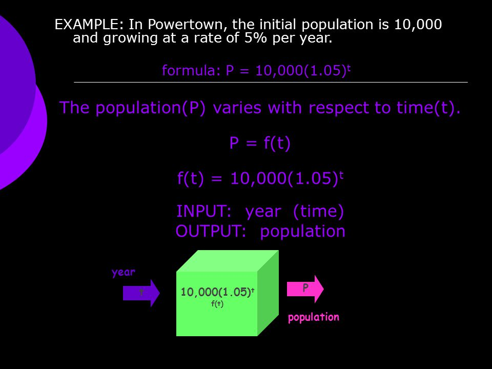 EXAMPLE: In Powertown, the initial population is 10,000 and growing at a rate of 5% per year. formula: P = 10,000(1.05) t The population(P) varies wit