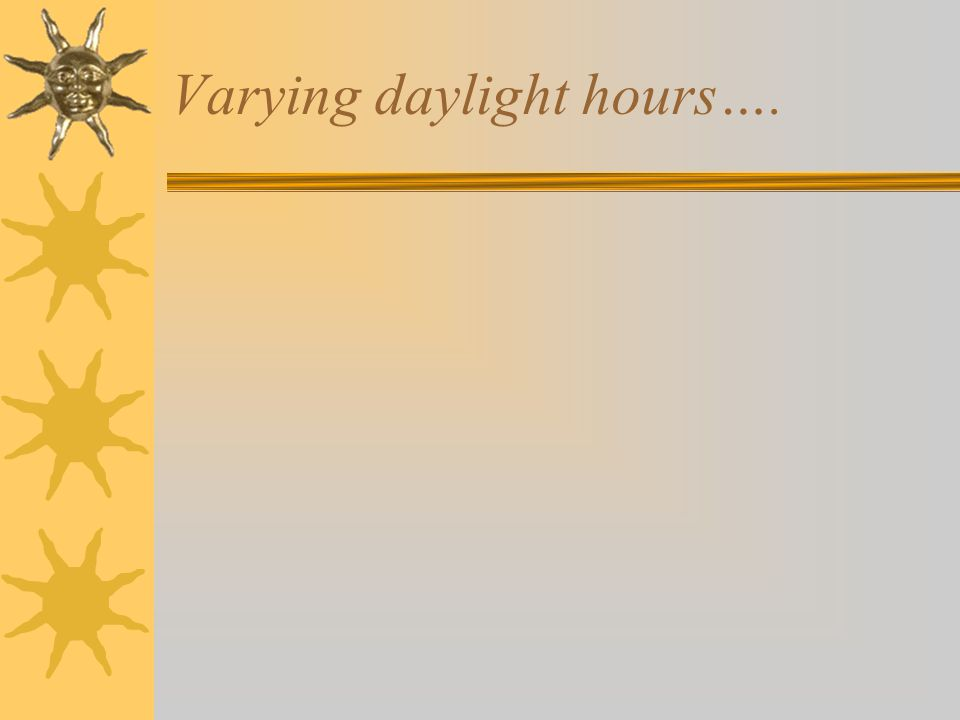Varying daylight hours….