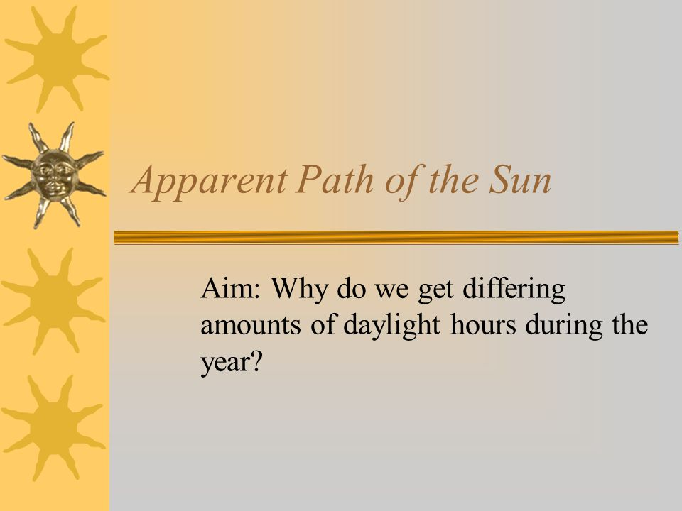 Apparent Path of the Sun Aim: Why do we get differing amounts of daylight hours during the year?