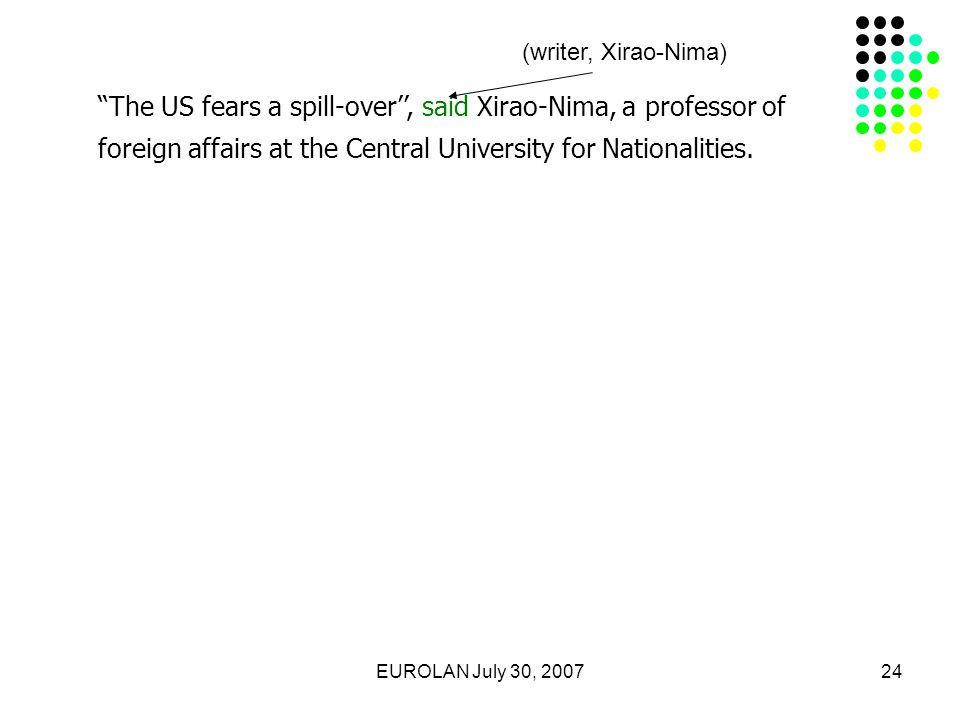 EUROLAN July 30, 200724 The US fears a spill-over'', said Xirao-Nima, a professor of foreign affairs at the Central University for Nationalities.