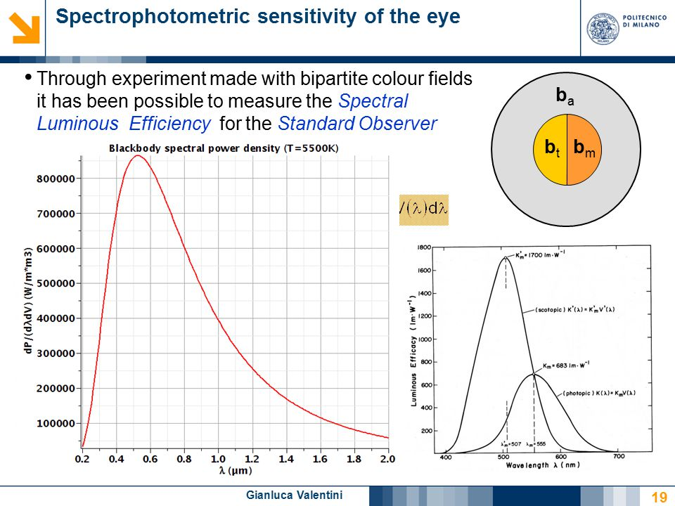 Gianluca Valentini Spectrophotometric sensitivity of the eye Through experiment made with bipartite colour fields it has been possible to measure the Spectral Luminous Efficiency for the Standard Observer Photopic vision (CIE, 1924)→ V ( ) Scotopic vision (CIE, 1951)→ V'( ) Luminous flux Fv [lm] 19 baba bmbm btbt