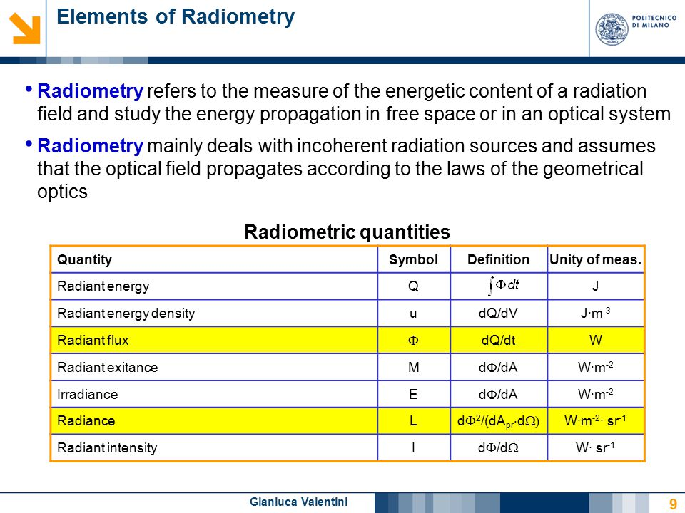 Gianluca Valentini 9 Elements of Radiometry Radiometry refers to the measure of the energetic content of a radiation field and study the energy propagation in free space or in an optical system Radiometry mainly deals with incoherent radiation sources and assumes that the optical field propagates according to the laws of the geometrical optics Radiometric quantities QuantitySymbolDefinitionUnity of meas.