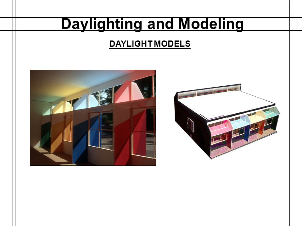 Daylighting and Modeling DAYLIGHT FACTOR Daylight Factor is a percentage: D.F. = Lumens outside / Lumens interior