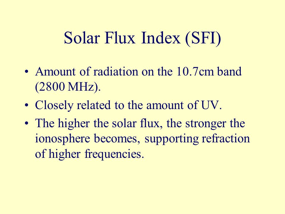 Solar Flux Index (SFI) Amount of radiation on the 10.7cm band (2800 MHz).
