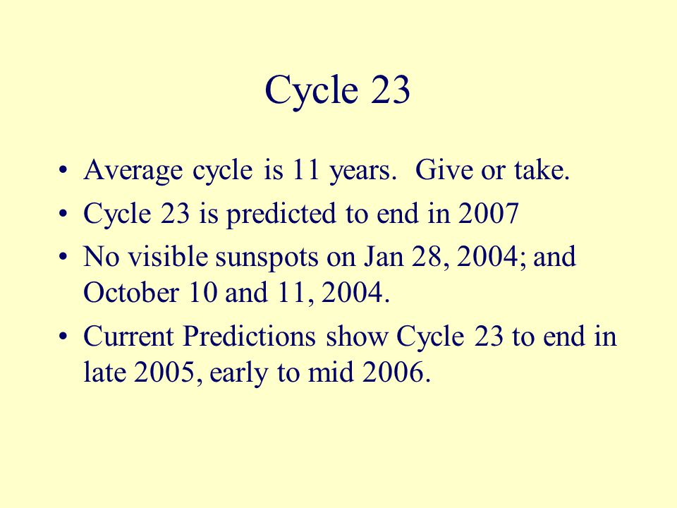 Cycle 23 Average cycle is 11 years. Give or take.