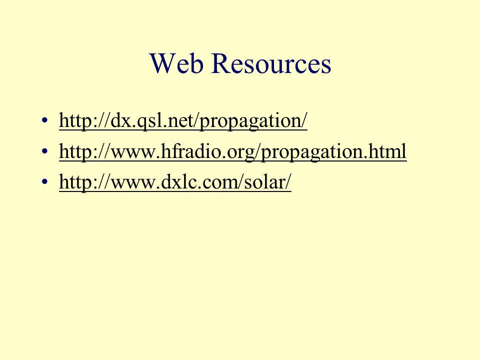 Web Resources http://dx.qsl.net/propagation/ http://www.hfradio.org/propagation.html http://www.dxlc.com/solar/