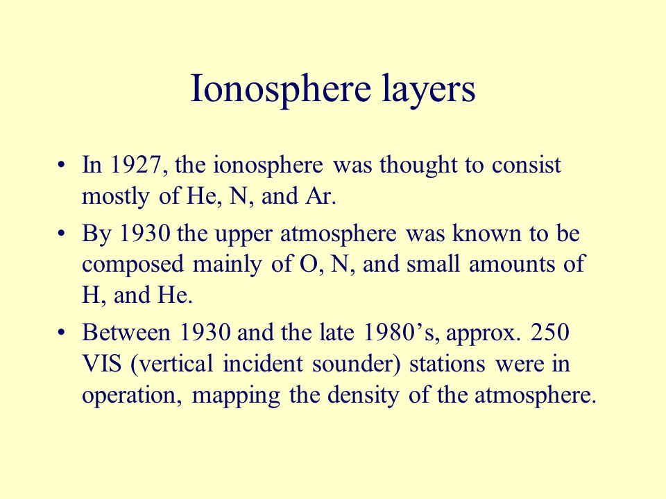Ionosphere layers D – Layer –40 to 60 miles above the earth's surface.