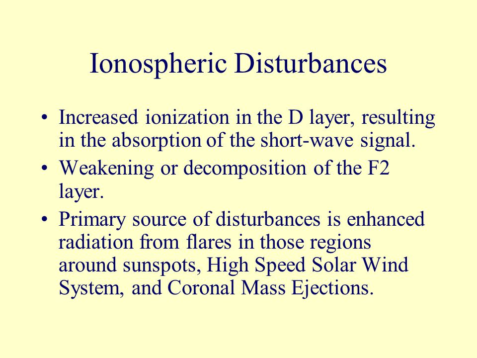 Ionospheric Disturbances Increased ionization in the D layer, resulting in the absorption of the short-wave signal.