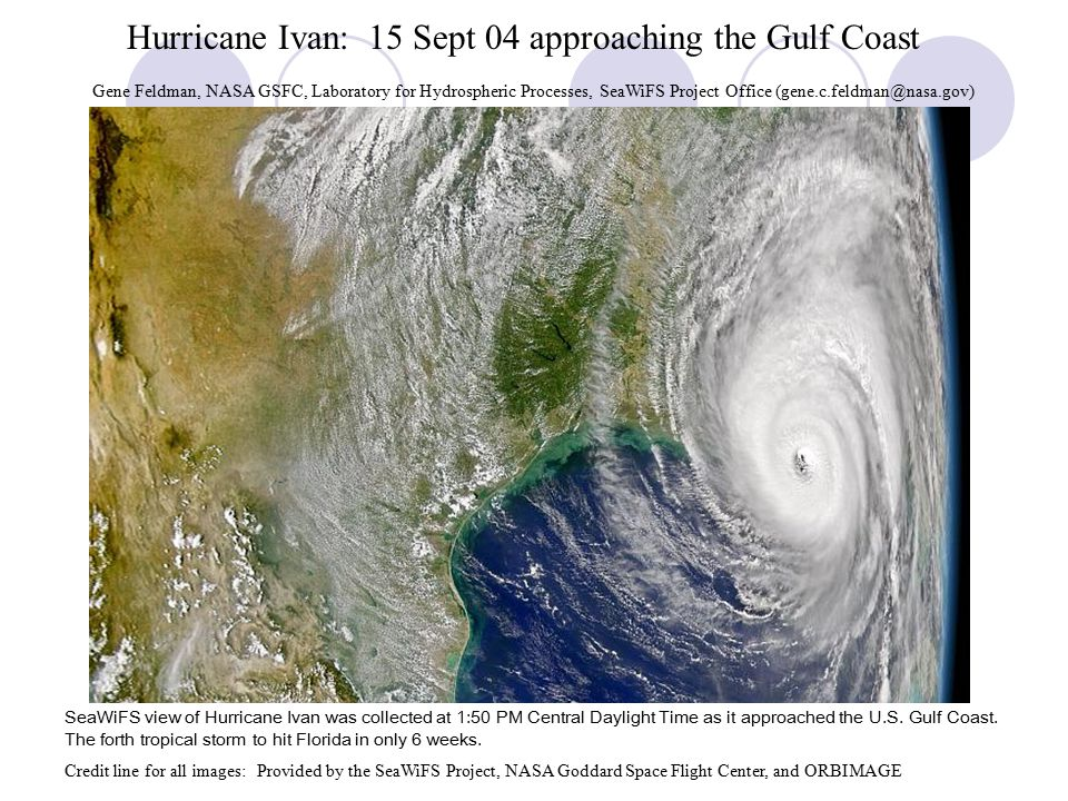 Hurricane Ivan: 15 Sept 04 approaching the Gulf Coast SeaWiFS view of Hurricane Ivan was collected at 1:50 PM Central Daylight Time as it approached the U.S.