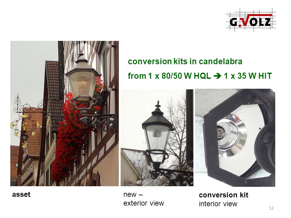 conversion kits in candelabra from 1 x 80/50 W HQL  1 x 35 W HIT assetnew – exterior view conversion kit interior view 12
