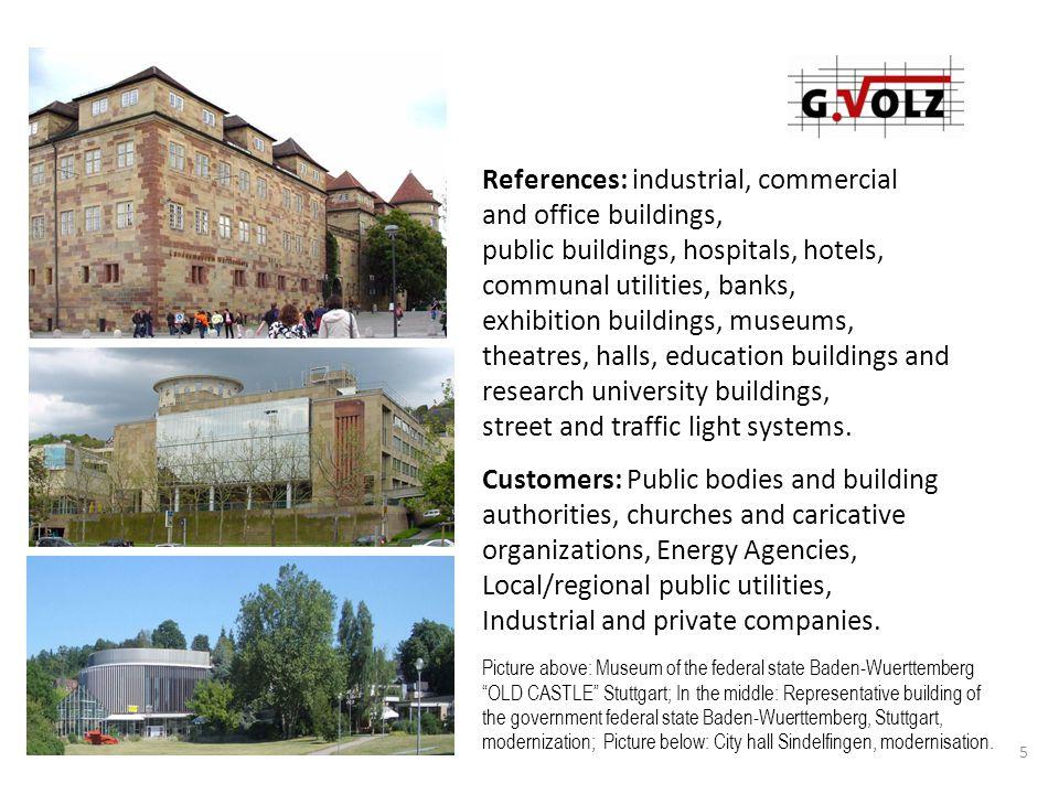 6 Bank management center Kreissparkasse D -Tübingen architects: Auer und Weber Objekt Trilux Ausstellungszentrum D - LE-Echterdingen Broadcast building SWR Südwestrundfunk, Stuttgart, modernization and extension