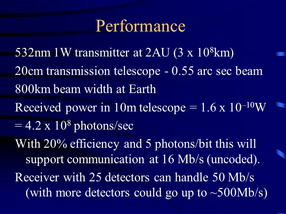 Performance 532nm 1W transmitter at 2AU (3 x 10 8 km) 20cm transmission telescope - 0.55 arc sec beam 800km beam width at Earth Received power in 10m telescope = 1.6 x 10 –10 W = 4.2 x 10 8 photons/sec With 20% efficiency and 5 photons/bit this will support communication at 16 Mb/s (uncoded).