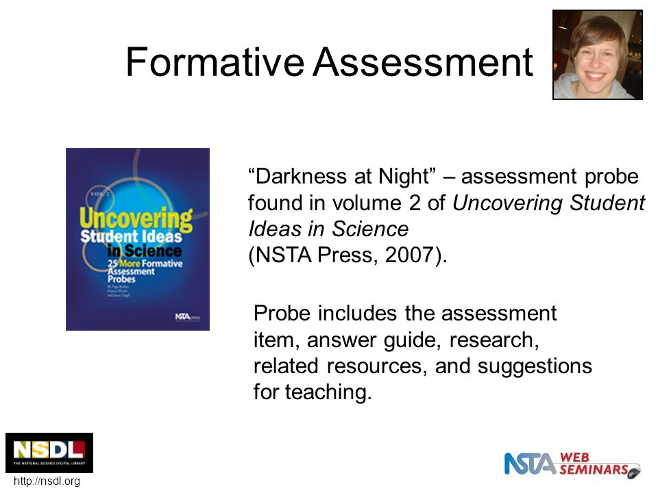 """Formative Assessment """"Darkness at Night"""" – assessment probe found in volume 2 of Uncovering Student Ideas in Science (NSTA Press, 2007). Probe include"""
