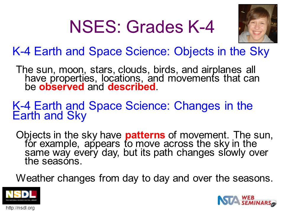 NSES: Grades K-4 K-4 Earth and Space Science: Objects in the Sky The sun, moon, stars, clouds, birds, and airplanes all have properties, locations, an