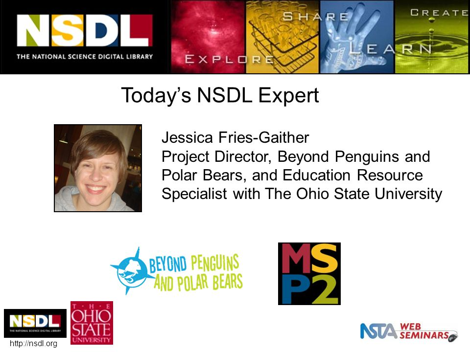 Today's NSDL Expert http://nsdl.org Jessica Fries-Gaither Project Director, Beyond Penguins and Polar Bears, and Education Resource Specialist with The Ohio State University