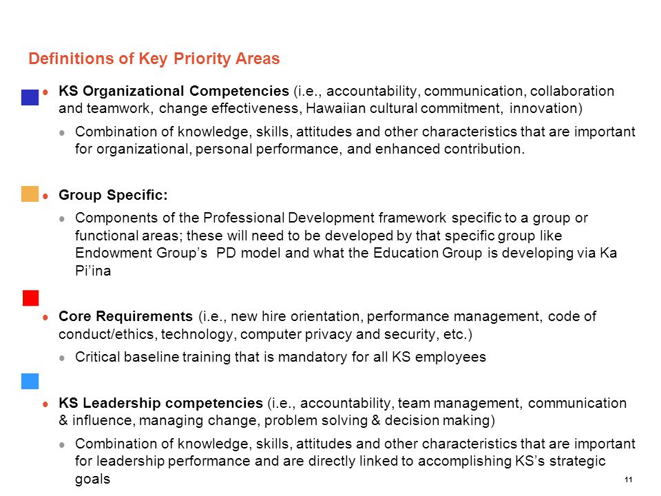 11 Definitions of Key Priority Areas KS Organizational Competencies (i.e., accountability, communication, collaboration and teamwork, change effective