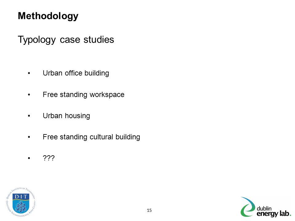 Methodology Typology case studies Urban office building Free standing workspace Urban housing Free standing cultural building ??? 15