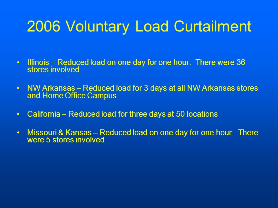 2006 Voluntary Load Curtailment Illinois – Reduced load on one day for one hour.