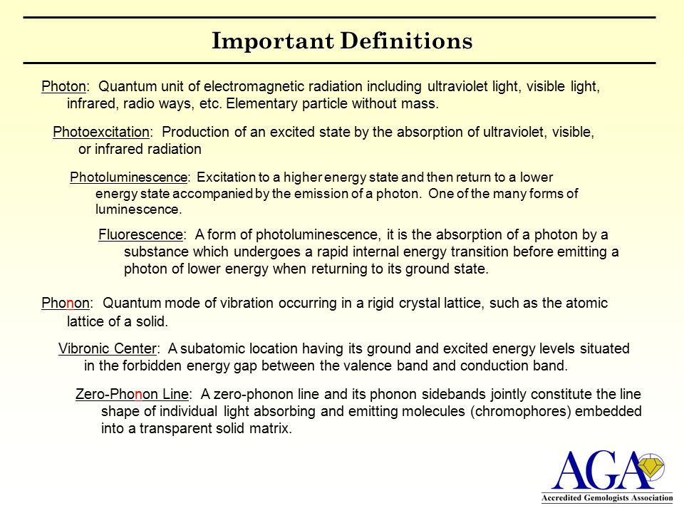 Important Definitions Photoluminescence: Excitation to a higher energy state and then return to a lower energy state accompanied by the emission of a photon.