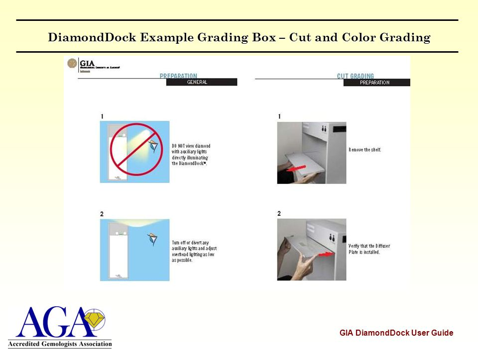 DiamondDock Example Grading Box – Cut and Color Grading GIA DiamondDock User Guide