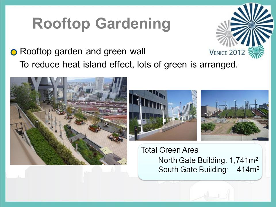 Rooftop garden and green wall North Gate Building: 1,741m 2 South Gate Building: 414m 2 Total Green Area To reduce heat island effect, lots of green is arranged.