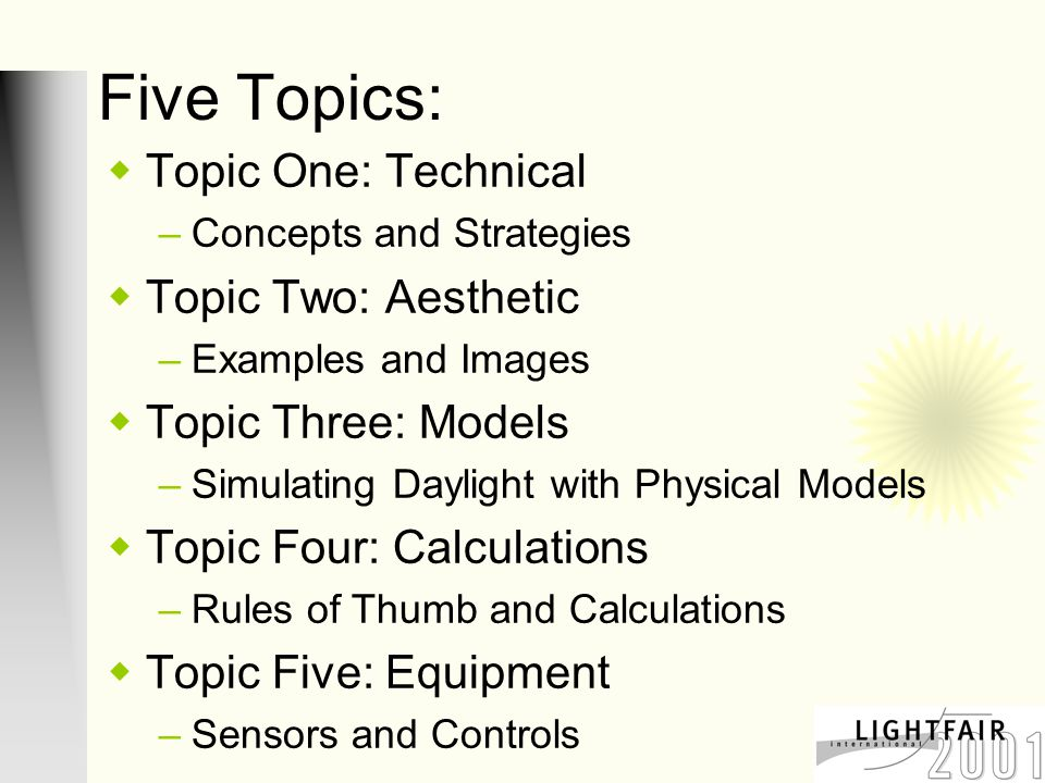 Topic One  Technical: Concepts and Strategies
