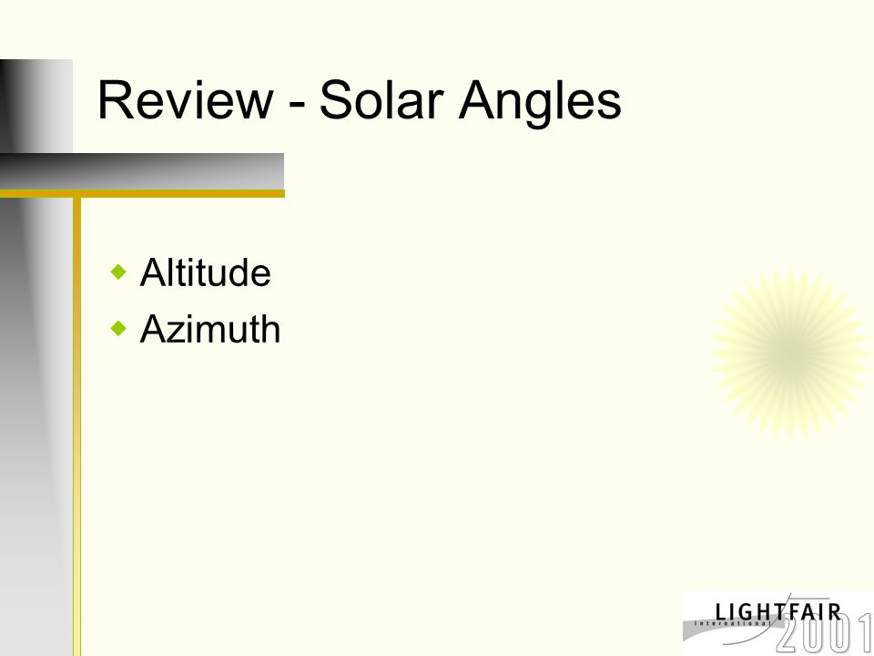 Review - Solar Angles  Altitude  Azimuth