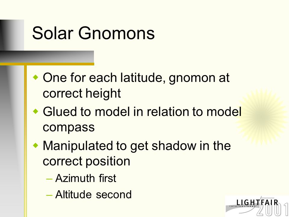 Solar Gnomons  One for each latitude, gnomon at correct height  Glued to model in relation to model compass  Manipulated to get shadow in the correct position –Azimuth first –Altitude second